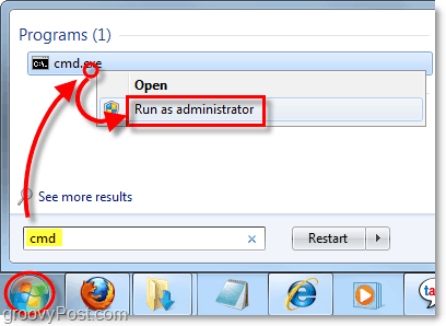 run the command prompt as an administrator in windows 7