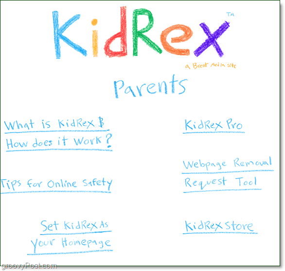 kidrex parents menu