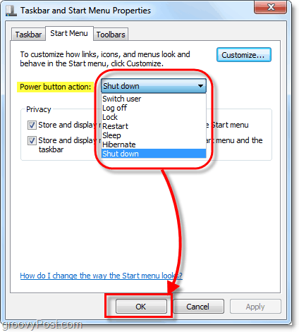 change the action of the start menu power button in windows 7