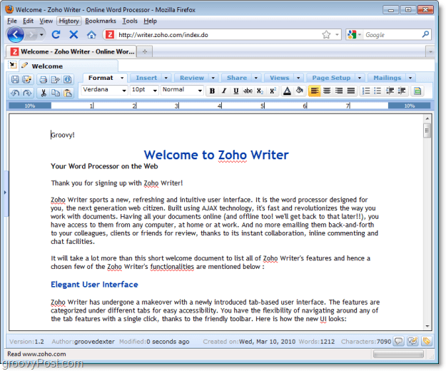 zoho office products writer