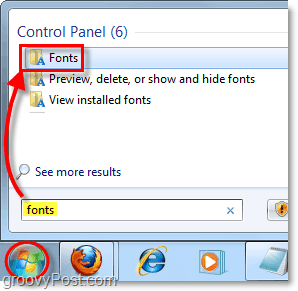 access the font control panel in windows 7