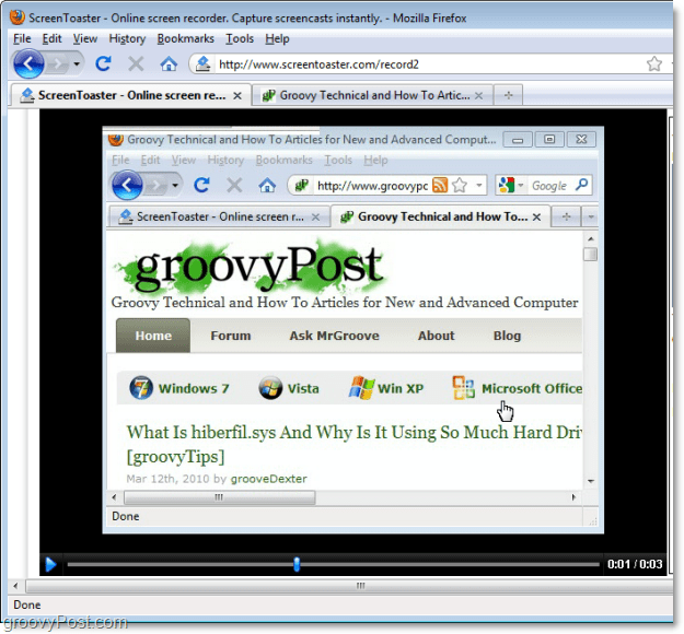 view the screentoaster recordin screen capture video preview