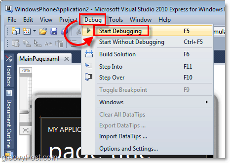 start debugging the windows 7 phone application