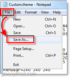 save the windows 7 .theme as a new file