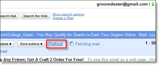 refresh gmail to receive pop messages