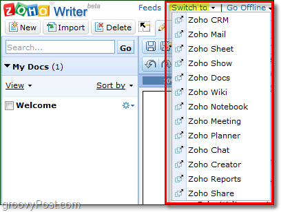 zoho switch to other webapps quickly