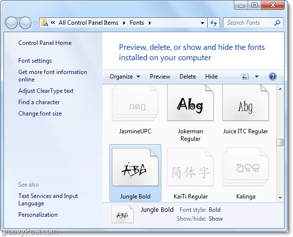 an overlook of the windows 7 font control panel