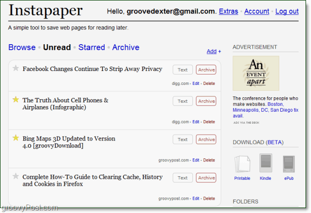 instapaper viewing unread pages
