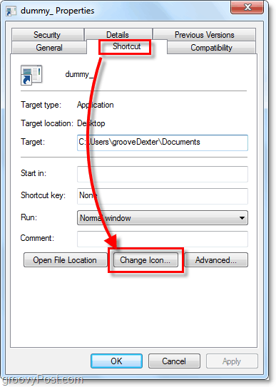 change a shortcut icon windows 7