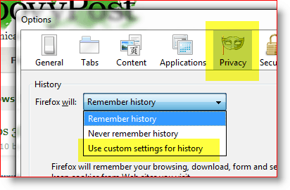 Firefox - use custom settings for history