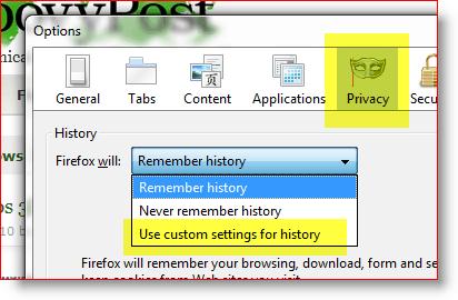 Firefox - use custom settings for history