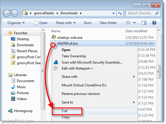 move the unlocked bin file to a new folder in windows 7 using cut