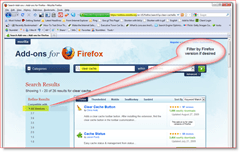 Filter Firefox add-on search results