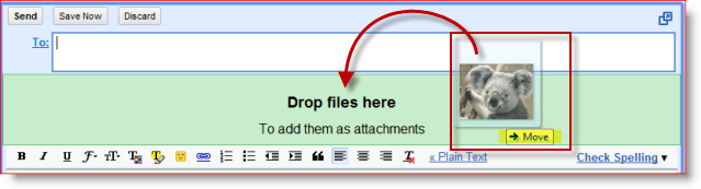 Google Adds Drag and Drop attachments to gmail