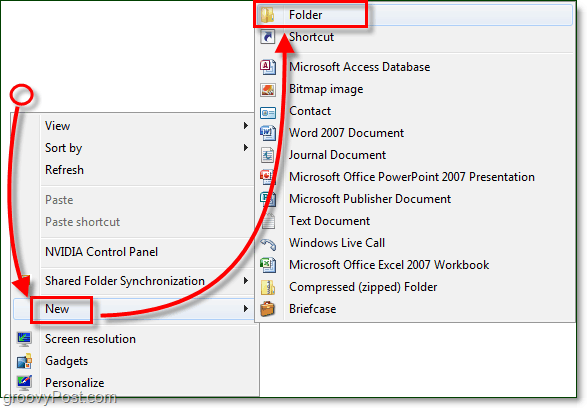 how to create a new folder in window s7