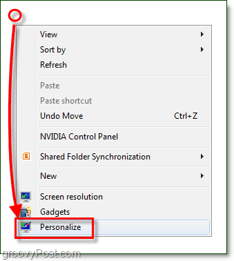 use personalize from the desktop context menu