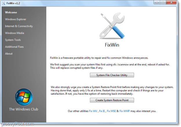 FixWIn welcome page screenshot