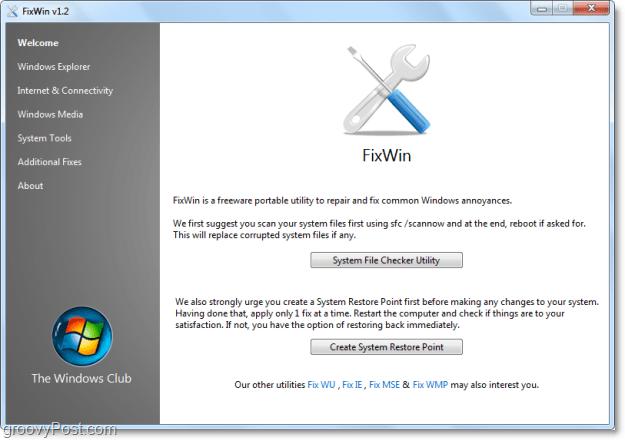 FixWIn welcome page screenshot