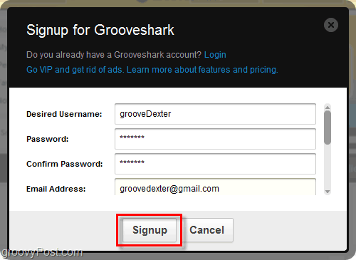 Grooveshark signup process