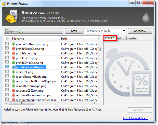 use recuva to preview deleted images and gather other file information
