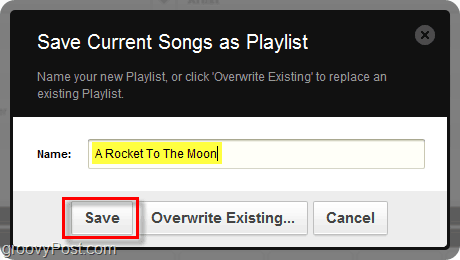 name your Grooveshark playlist