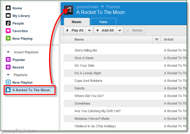 quickly access a Grooveshark playlist
