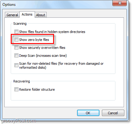 adjust recuva actions to show zero bytes and other things