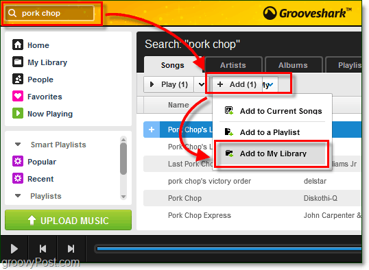 add searched songs to your Grooveshark music library