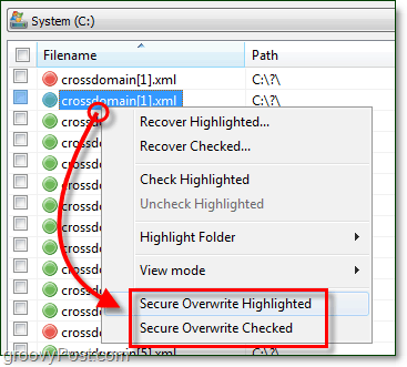 securely overwrite highlted files and then they will be permanently deleted