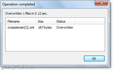 overwrite confirmation window