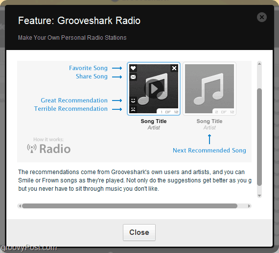 use the Grooveshark reccomendation engine via Grooveshark radio