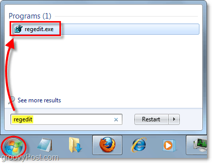 open regedit in windows 7