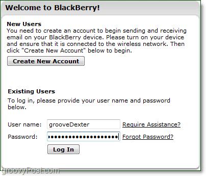 blackberry login page