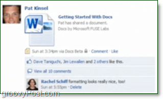 docs.com showing up in the facebook news feed