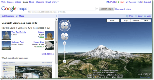 screenshot of mt rainer in google maps earth view