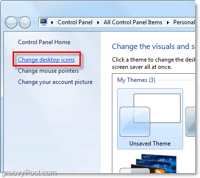 in the personalize control panel window choose change desktop icons
