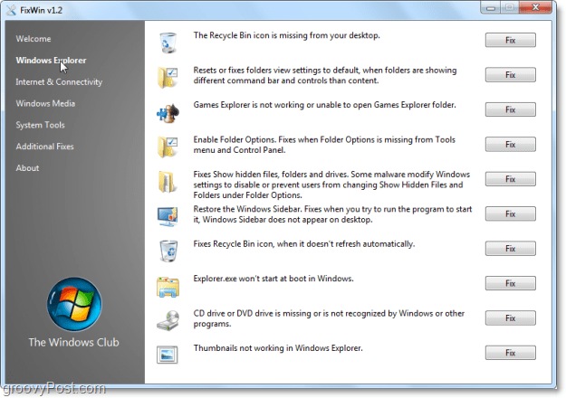 FixWin Windows Explorer fixes screenshot