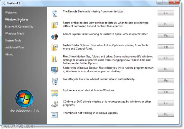 FixWin Windows Explorer fixes screenshot