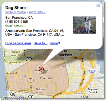 draw out your google maps service area for your business