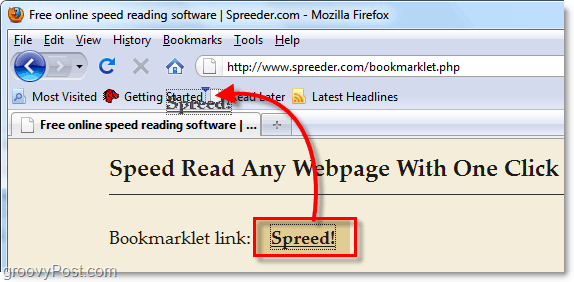 load text into spreeder automatically using a bookmarklet
