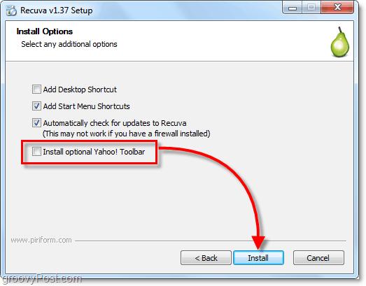 bundled yahoo toolbar crapware with recuva