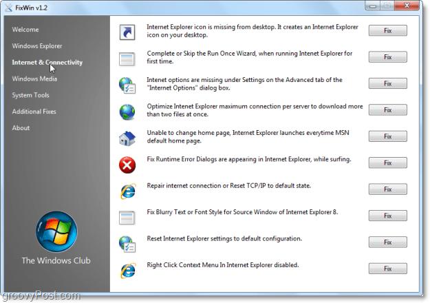 FixWin Internet & Connectivity fixes screenshot