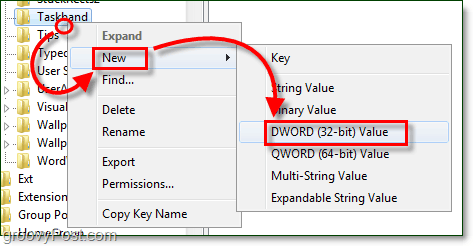 create the taskband dword in windows 7