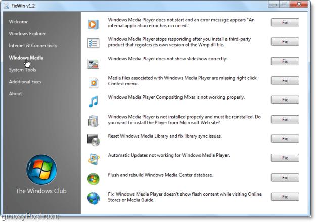 FixWin Windows Meda fixes screenshot