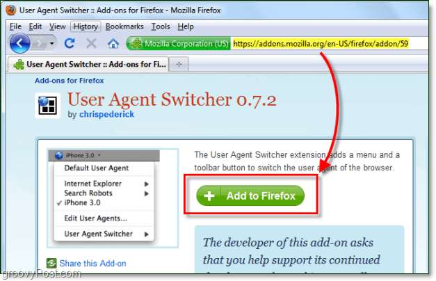 install user agent switcher for firefox