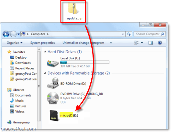 moving update.zip to the microsd drive on your computer
