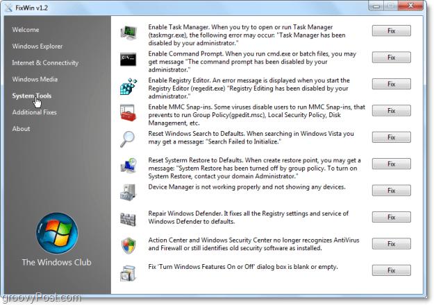 FixWin System Tools fixes screenshot