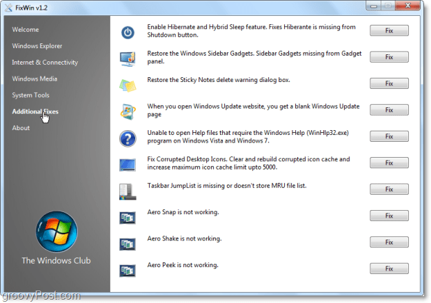 FixWin Additional Fixes screenshot
