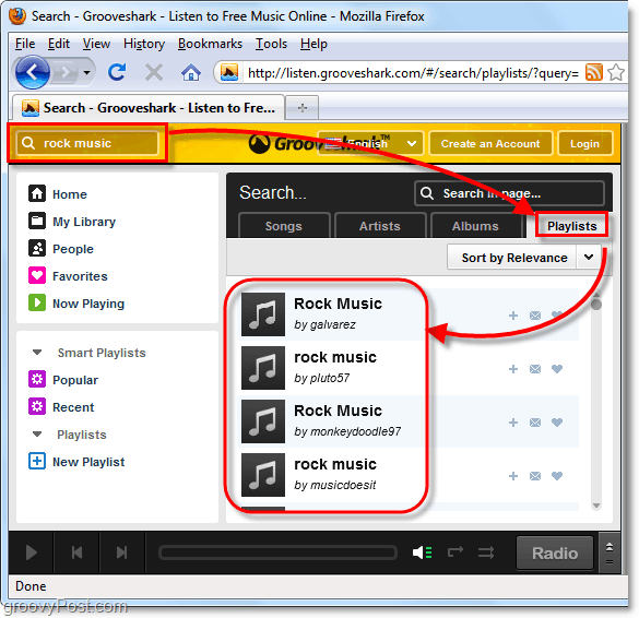 search for a music genre on Grooveshark