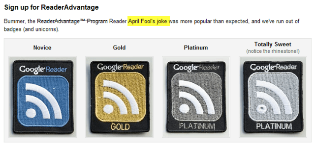 Google Reader 2010 April Fools Reader Advantage Badge